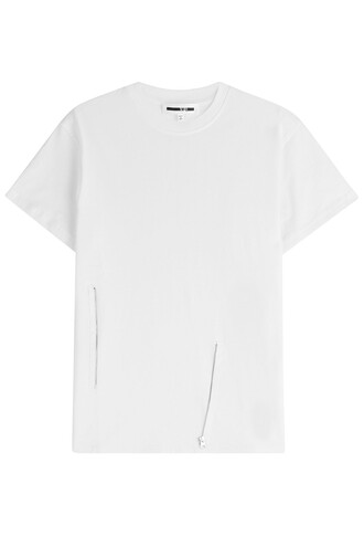 t-shirt shirt cotton t-shirt embellished cotton white top