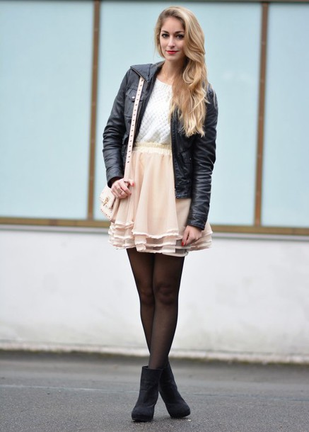 Skirt: tulle skirt, ankle boots, moto leather jacket, fashion ...