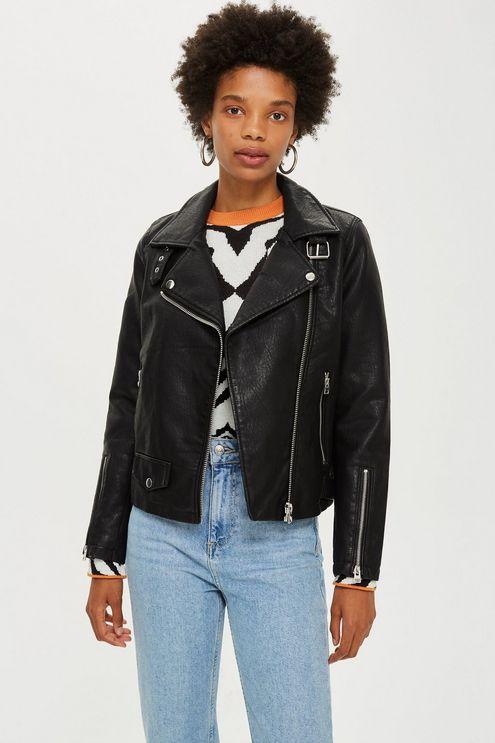 Womens Leather Look Biker Jacket - Black