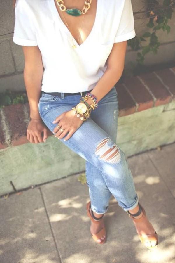 Vibrant MIU Knee Cut Denim Jeans