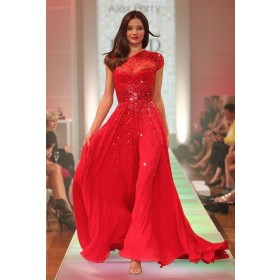 Miranda Kerr Red One-shoulder Chiffon A-line Celebrity Dresses David Jones Red Carpet