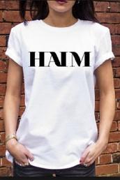 t-shirt,haim,brand t-shirt,black,white