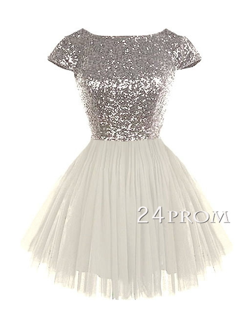 Cute round neckline sequined ivory Short Prom Dress, Homecoming Dress - 24prom