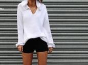 sweater,white,cable knit,hood,v neck,black,shorts