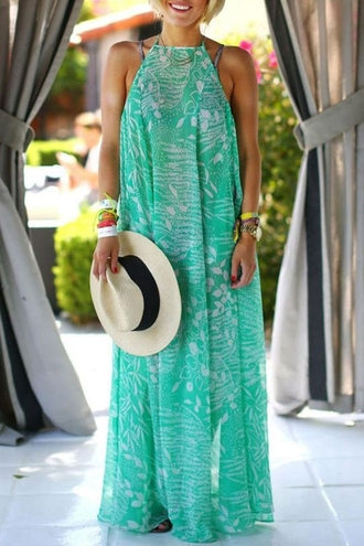 dress chiffon green fashion style maxi dress flowy stylish clothes tropical rose wholesale-jan