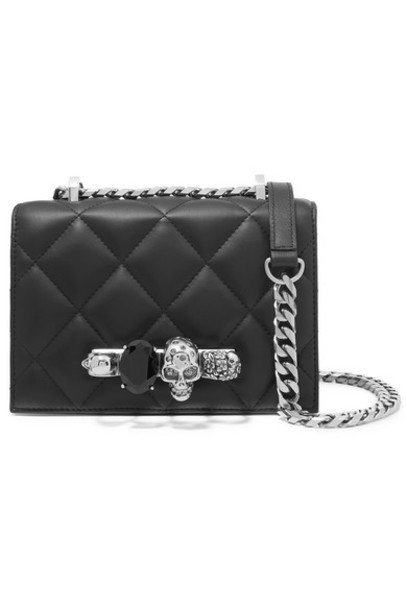 satchel quilted embellished bag shoulder bag leather black