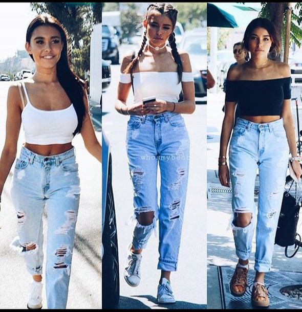 jeans ripped boyfriend jeans boyfriend summer fall outfits winter outfits madison beer high waisted jeans