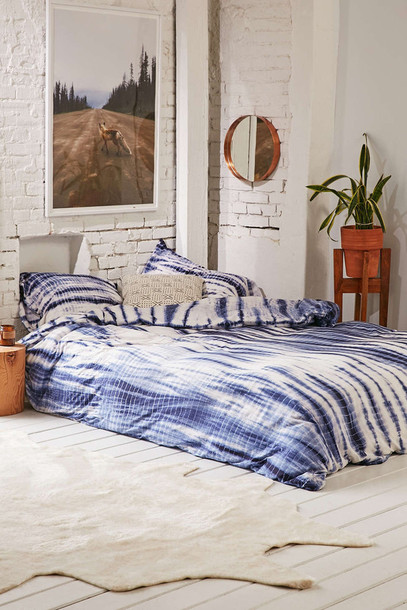 Home Accessory Bedding Bedroom Boho Decor Blue And White Tie Dye