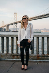 onesmallblonde,blogger,pajamas,top,jeans,shoes,bag