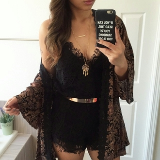romper lace black lace eyelash lace lace romper black lace romper gold kimono summer outfits party jewels dreamcatcher necklace dreamcatcher necklace phone cover iphone jewelry hipster girly women gorgeous pants fashionista gorgeous style stylish trendy cute summer tumblr cool girl instagram pretty beautiful date outfit warm clothes black oriental oriental print event accessory tumblr girl on point clothing cardigan belt boho boho jewelry layered gold necklace bar necklace
