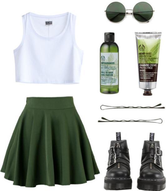skirt green skater skirt black boots white crop tops