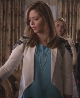 blue silk blouse blazer pretty little liars alison dilaurentis sasha pieterse jacket