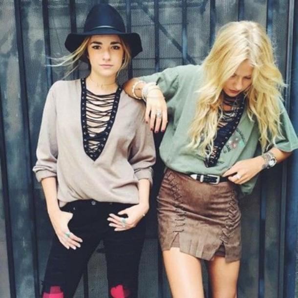 d149b1ec32 skirt, lace up skirt, suede skirt, mini skirt, top, blue top, grey ...