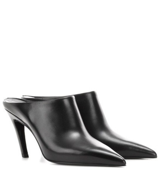 Balenciaga mules leather black shoes