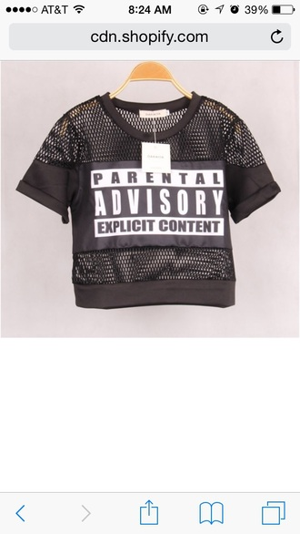 top mesh black crop tops parental advisory