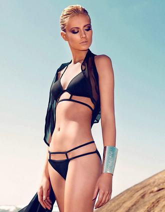 swimwear cut-out bikini straps chic two-piece halter neck bqueen fashion sexy cool black hot summer neon bright straps colorful bikini