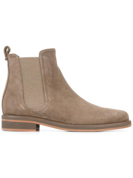 Loro Piana women classic chelsea boots leather suede grey shoes