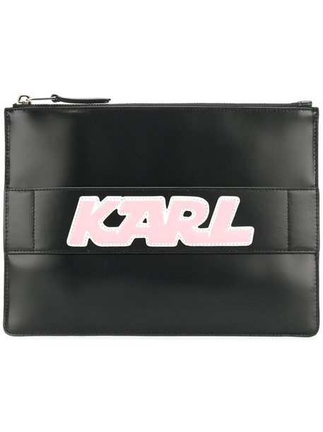 karl lagerfeld women sporty bag clutch leather black