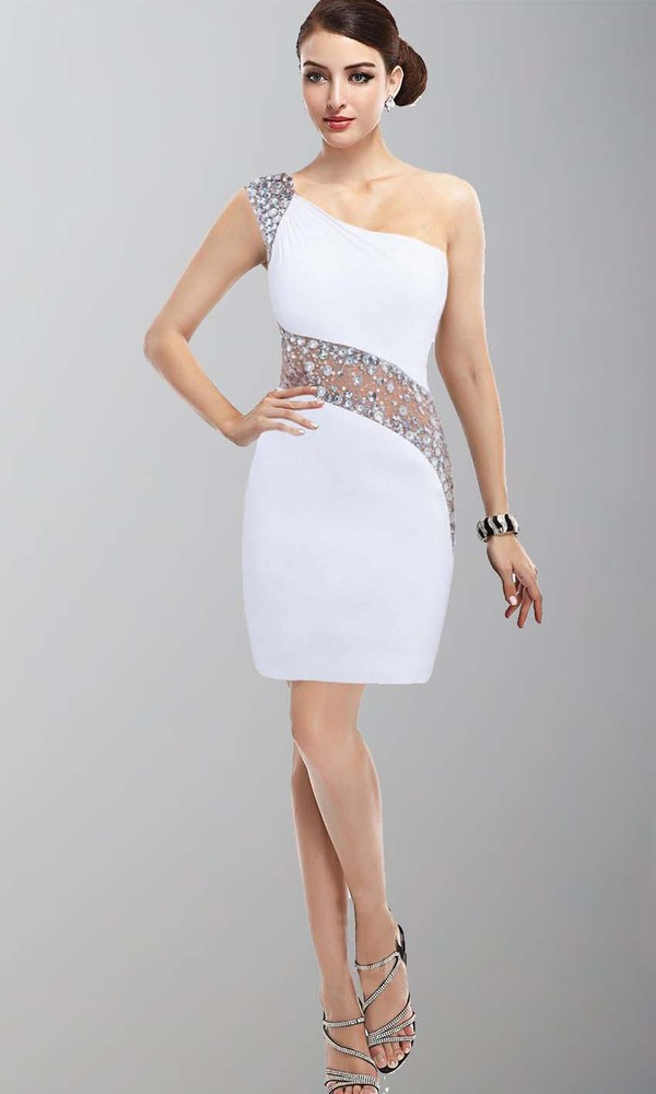Dress short prom dress white graduation dress bodycon for Short white wedding dresses under 100