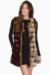 coat,faux fur,faux fur jacket,faux fur coat,faux fur vest,brown dress,brown