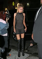 dress,mesh,mesh dress,black dress,model off-duty,stella maxwell,over the knee boots,bodycon dress,mini dress,blouse,shoes,victoria's secret