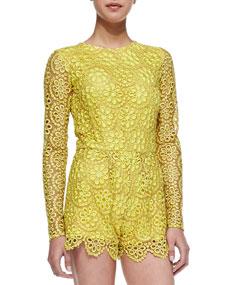 Izu Long-Sleeve Floral-Lace Short Jumpsuit