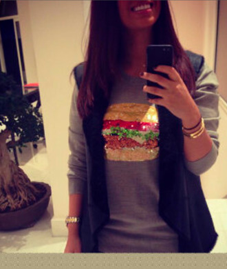 shirt fast food hamburger t-shirt glitter