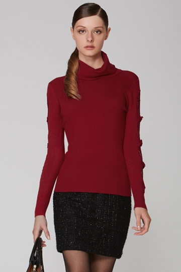 Turtleneck Lace Stitching Sweater [FKBJ10374]- US$ 51.99 - PersunMall.com