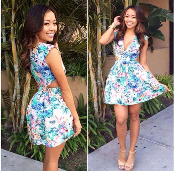dress floral dress cute spring summer floral cut-out dress girly blue white pink flowers