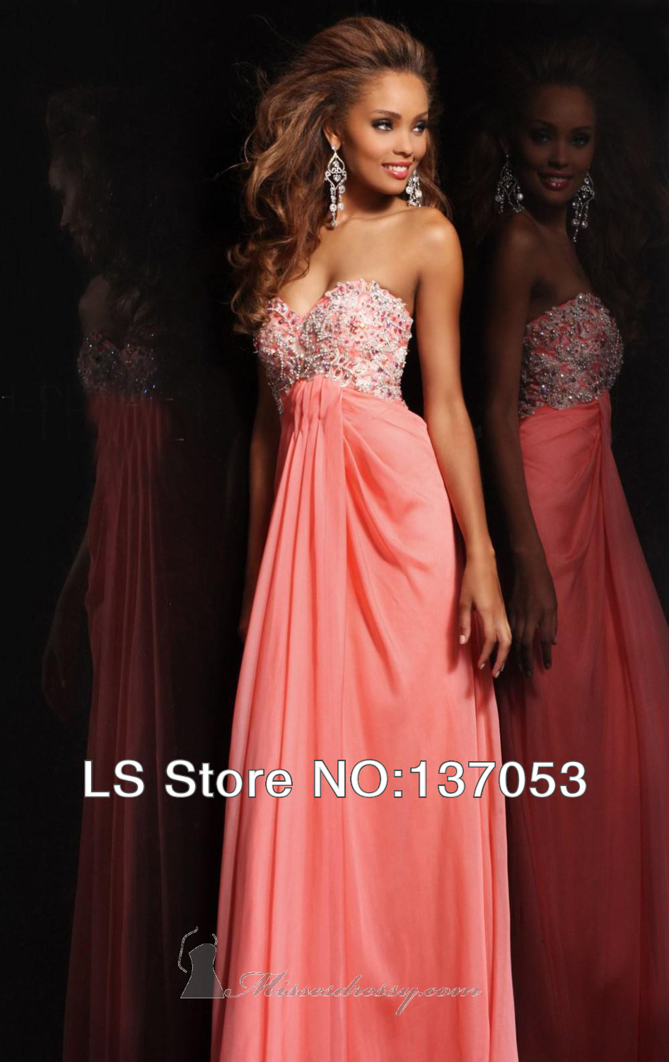 2014 Sweetheart Chiffon Sweetheart Beaded Crystal Floor Length Baby Pink Prom Dresses-in Prom Dresses from Apparel & Accessories on Aliexpress.com