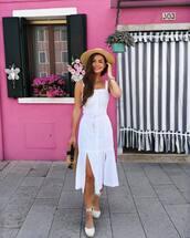 dress,white dress,midi dress,espadrilles,bag,hat