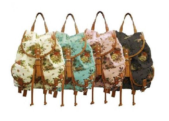 Women Girl Vintage Cute Flower Floral Bag Schoolbag Bookbag Backpack 4 Colors | eBay