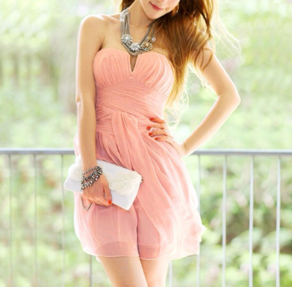 dress clothes bag bustier dress summer jewels flowers coral dress summer dress coral orange dress orange jewelry necklace bracelets little bag white white bag