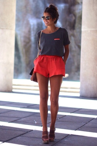 shorts neon orange shirt coral bag t-shirt ouftit t-shirt dress top