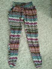 pants,bohemian,multicolor,summer,fashion,gypsy,clothes,zigzag