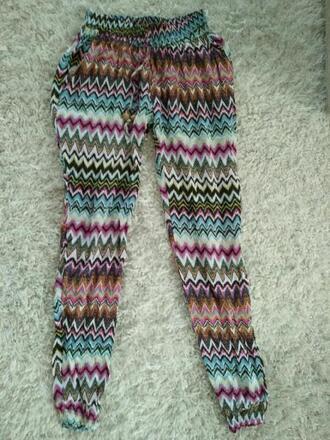 pants bohemian multicolor summer fashion gypsy clothes zigzag