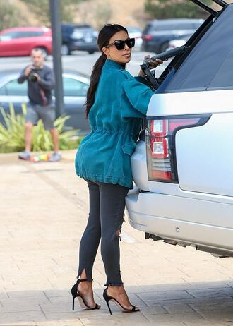 jeans sandals sunglasses jacket ripped jeans kim kardashian kardashians