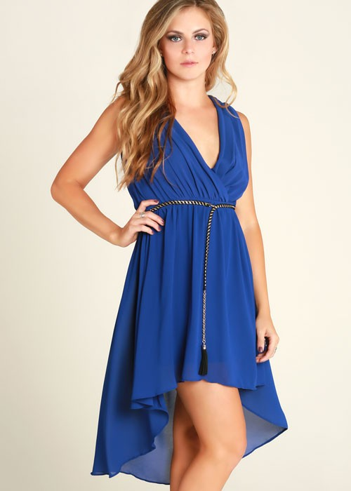Blue Pleated V-Neck Belted Flowy Beach Day High Low Dress