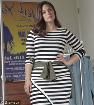 dress horizontal stripes sexy one short side short dress ashley graham