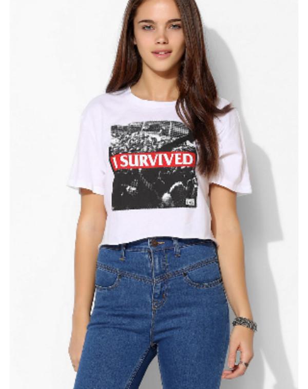 shirt i survived crop tops jeans