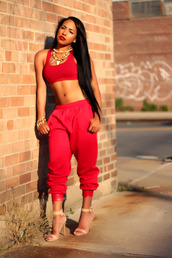 pants,aaliyah,jewels,shoes,jumpsuit,blouse,red,crop tops,shirt,sweatpants,two-piece,sports bra,cute,streetwear