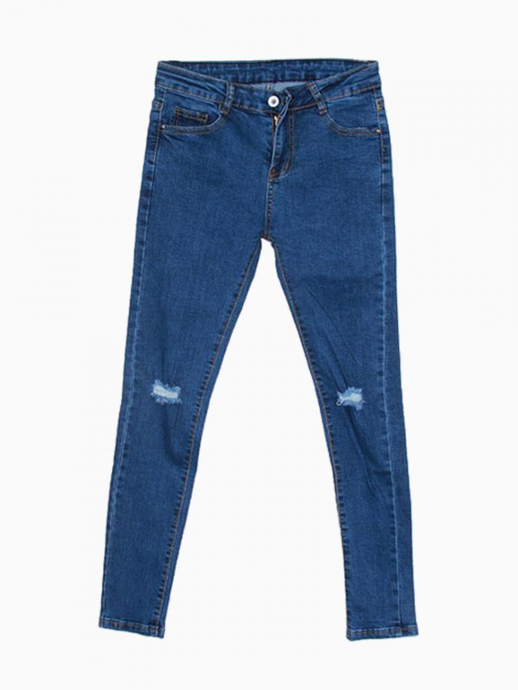 High elasticity slim jeans with hole knee