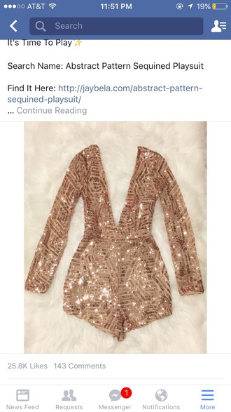 romper sparkle gold sequins jumpsuit long sleeves shorts