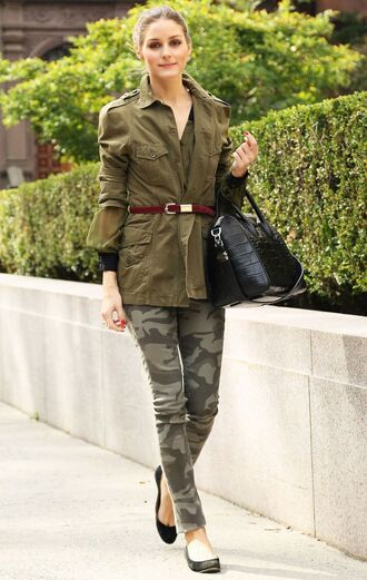 jacket all military green outfit army green jacket belt bag black bag ballet flats flats black flats army pants pants olivia palermo celebrity