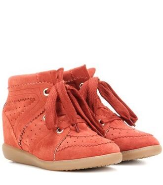 sneakers suede wedge sneakers red shoes