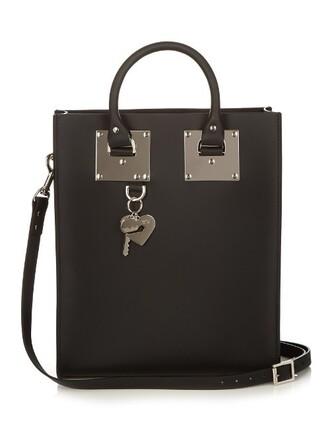 mini leather silver black bag