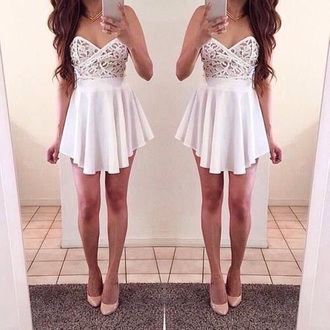 dress white short dress prom dress white dress girly pretty