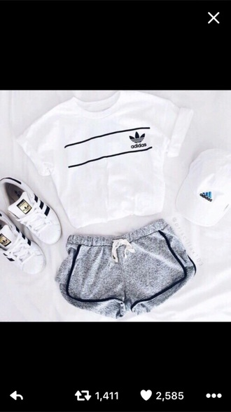 t-shirt adidas crop tops white white t-shirt