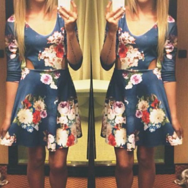 dress floral short navy blue dress skater dress cut-out dress gloves