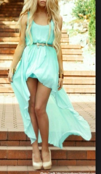 Irregular mint color dress